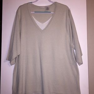 White Stag Tan and White light weight sweater 22W
